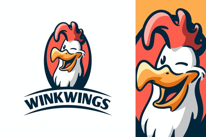 Thumbnail for Cartoon Retro Winking Chicken Mascot Logo