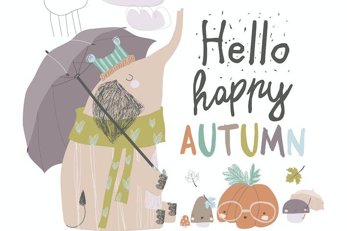 Thumbnail for Cute elephant under umbrella. Autumn time. Rainy