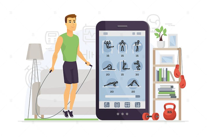 Thumbnail for Home fitness - cartoon character illustration