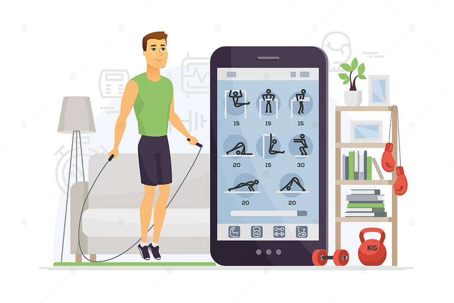 Home fitness - cartoon character illustration