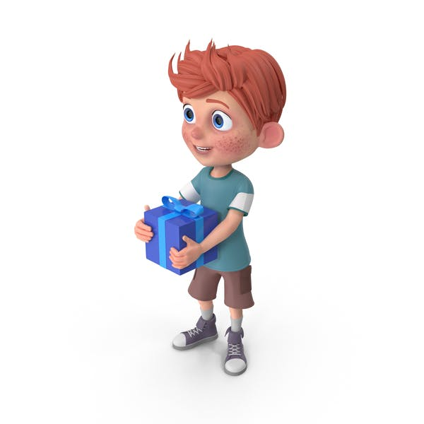 Thumbnail for Cartoon Boy Charlie Holding Present