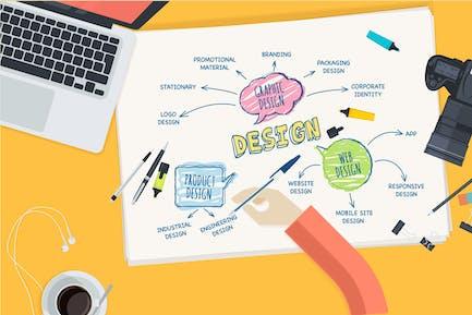 Flachdesign Konzept für Design