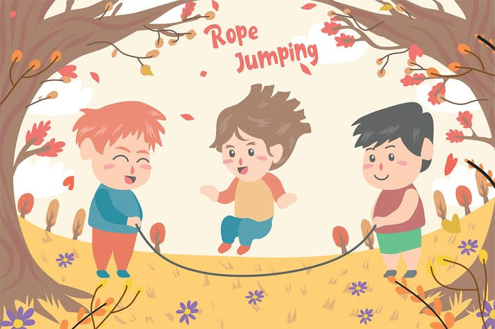 Thumbnail for Kids Playing Jump - Vector Illustration