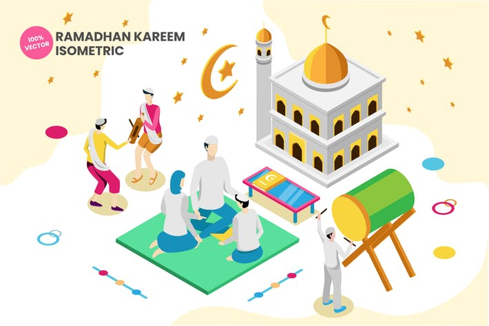 Thumbnail for Isometric Ramadhan Kareem Vector Illustration