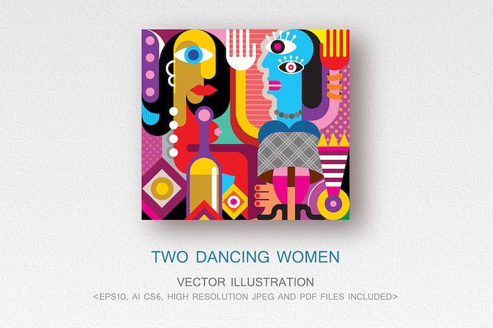 Thumbnail for Two Dancing Women vector illustration