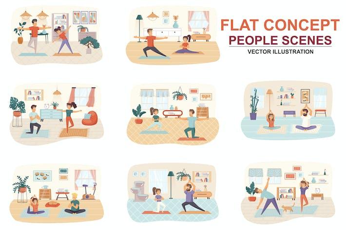 Thumbnail for Sammlung Yoga zu Hause Wohnung Konzept Menschen Szenen