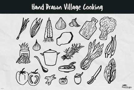 Handgezeichnetes Dorf Kochen