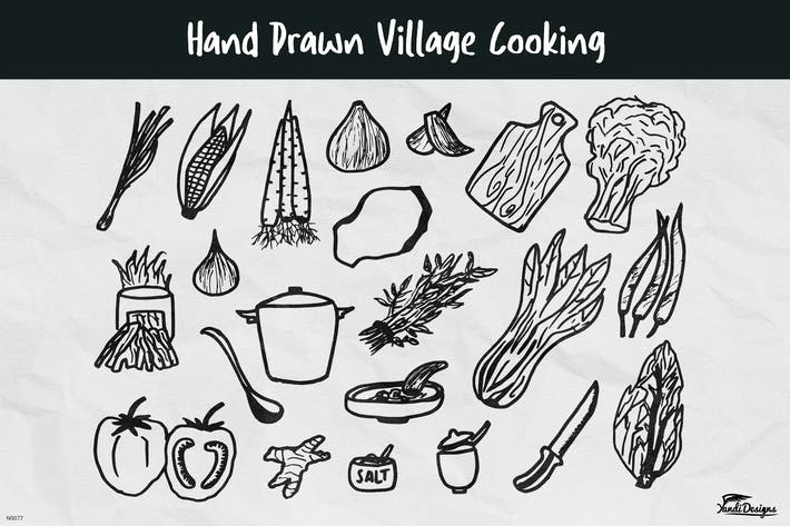 Hand Drawn Village Cooking