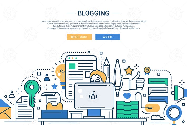 Thumbnail for Blogging - line design website banner