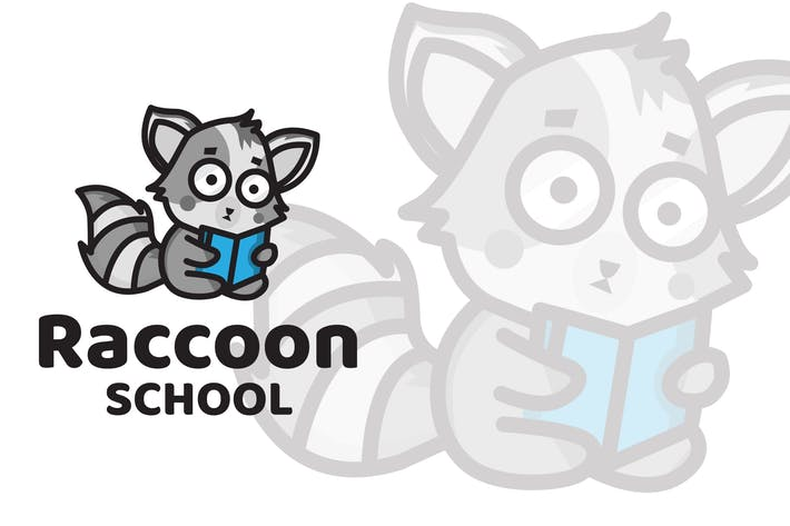 Thumbnail for Raccoon School Cute Logo Template