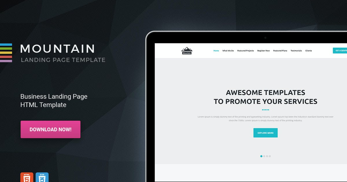 Download Mountain - Business Startup HTML Landing Page by Morad