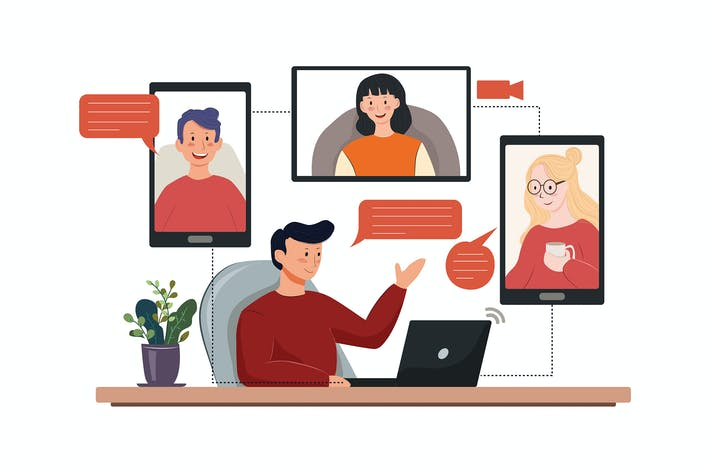 Cover Image For Telecommuting tips concept vector illustration