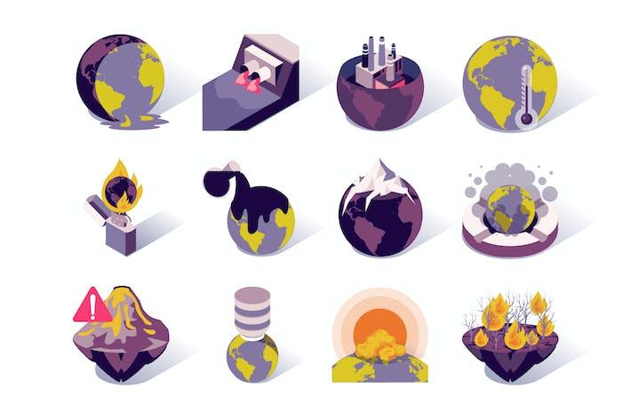 Global Warming Isometric Icons Set