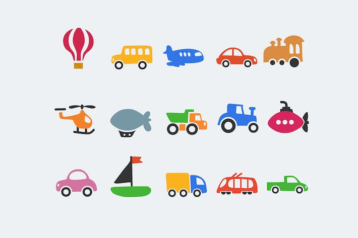 Thumbnail for 15 Cartoon Transport Icons