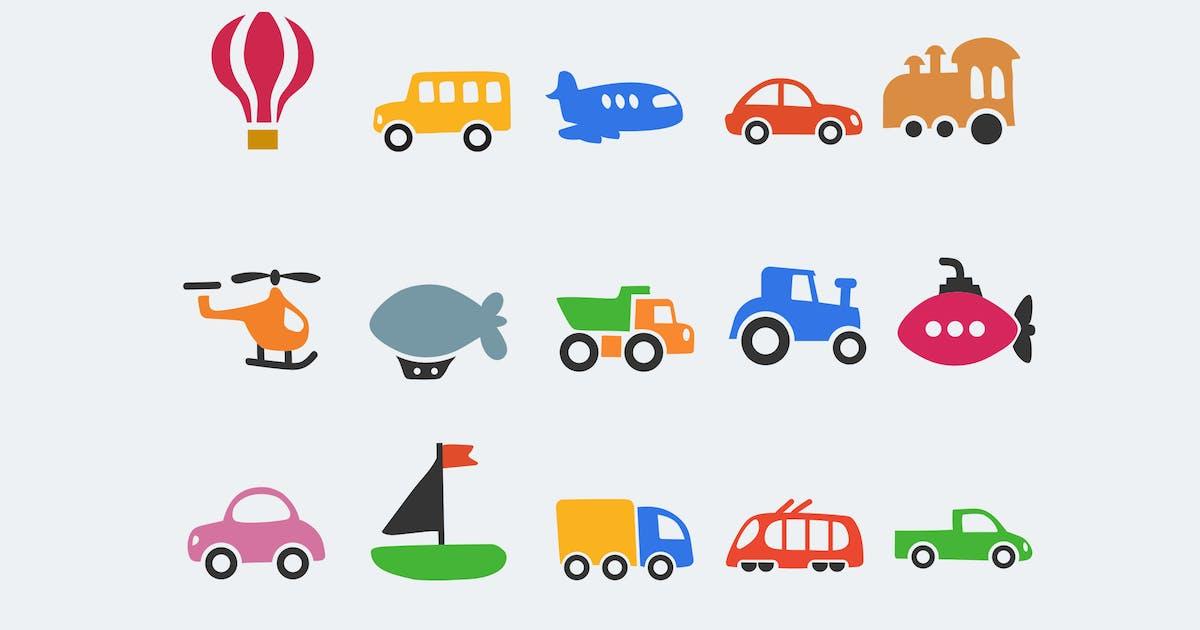 Download 15 Cartoon Transport Icons by creativevip