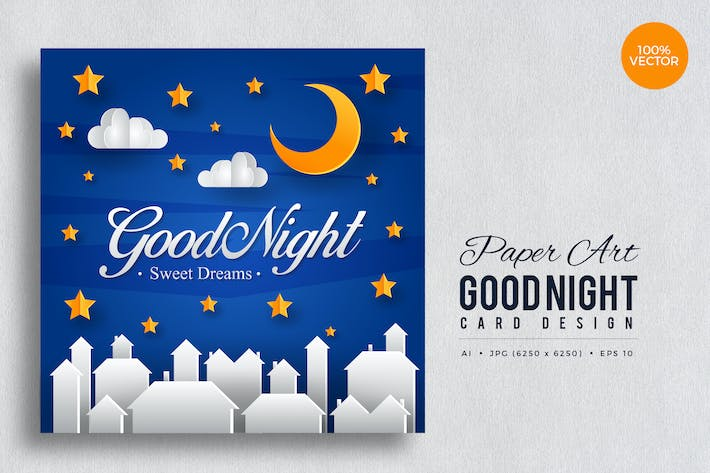 Thumbnail for Paper Art Good Night Vector Card Vol.2