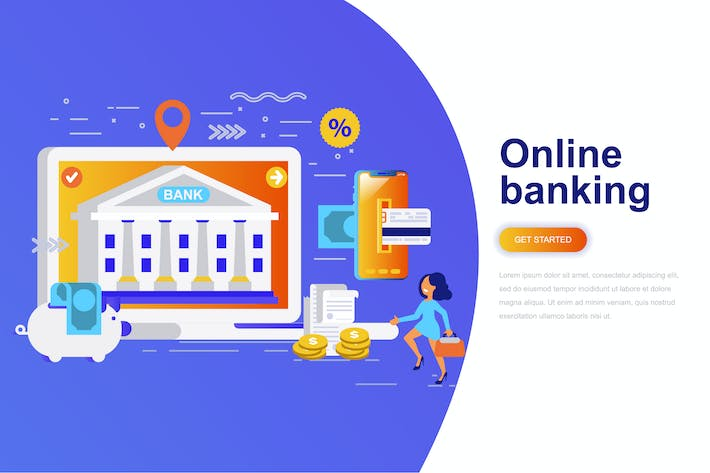 Thumbnail for Online Banking Modern Flat Concept