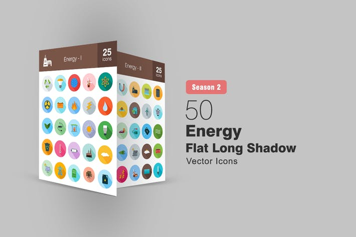 Thumbnail for 50 Energy Flat Long Shadow Icons Season II