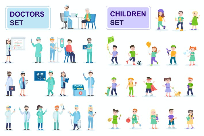 Thumbnail for Doctors and Children Flat People Characters