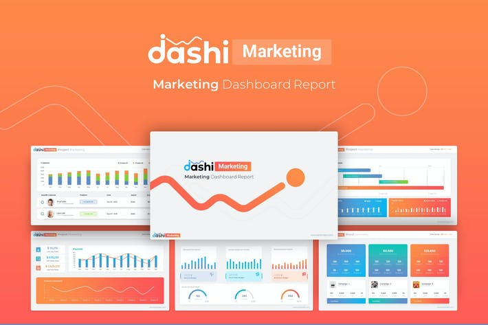 Thumbnail for Dashi Marketing – Dashboard Report PowerPoint Temp