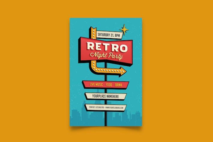 Retro Party/ Retro Schild Flyer