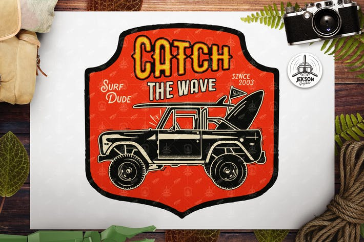 Thumbnail for Surfing Life Logo, Surf Car Retro Emblem, Abzeichen