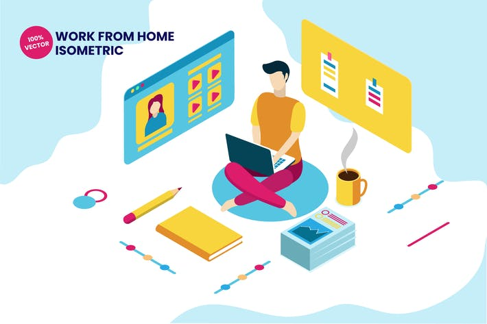 Thumbnail for Isometric Work From Home Vector Illustration