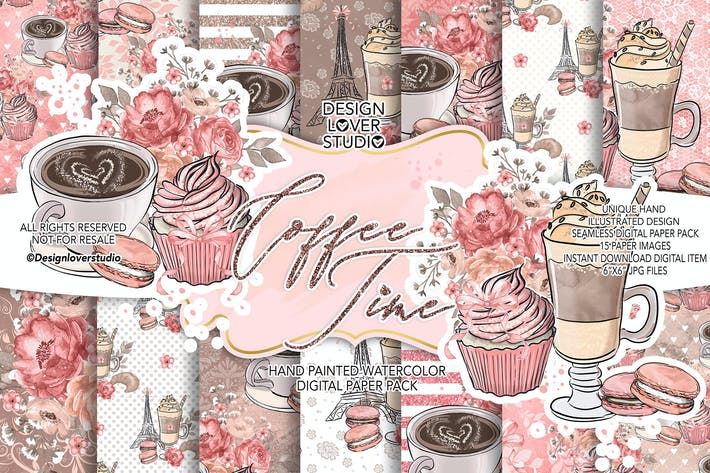 Thumbnail for Coffee time digital paper pack
