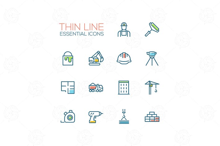 Thumbnail for Construction - Thin Single Line Icons Set