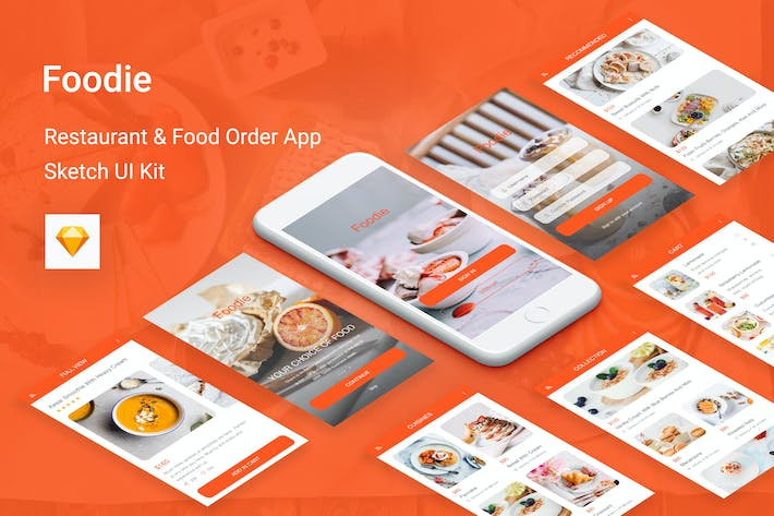 Thumbnail for Foodie - Food Delivery Mobile App for Sketch