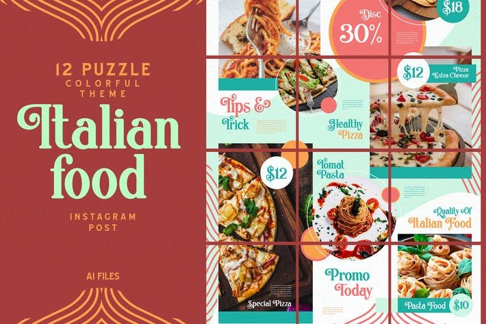 Thumbnail for Colorful Puzzle Theme-Italian Food Instagram Post