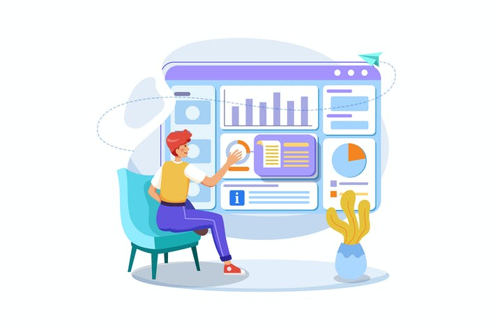 Thumbnail for Manager analyzing reports and infographic