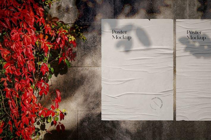 Zerknitterte Poster Mockup Szene