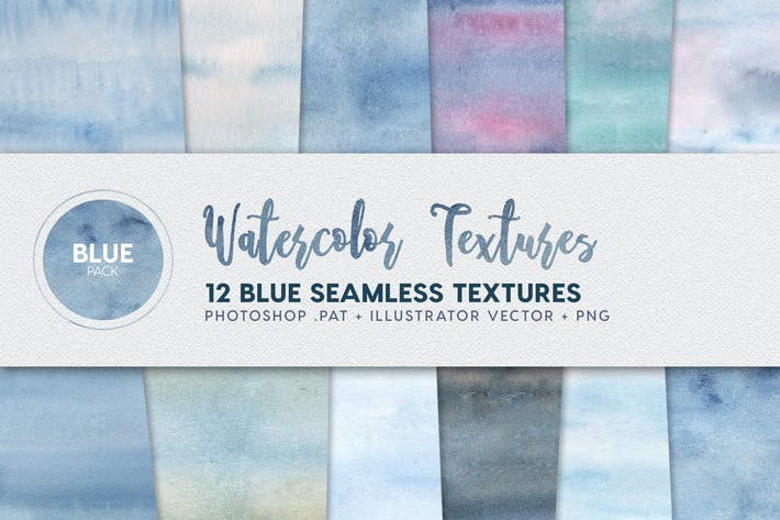 Thumbnail for Watercolor Seamless Textures - Blue Pack