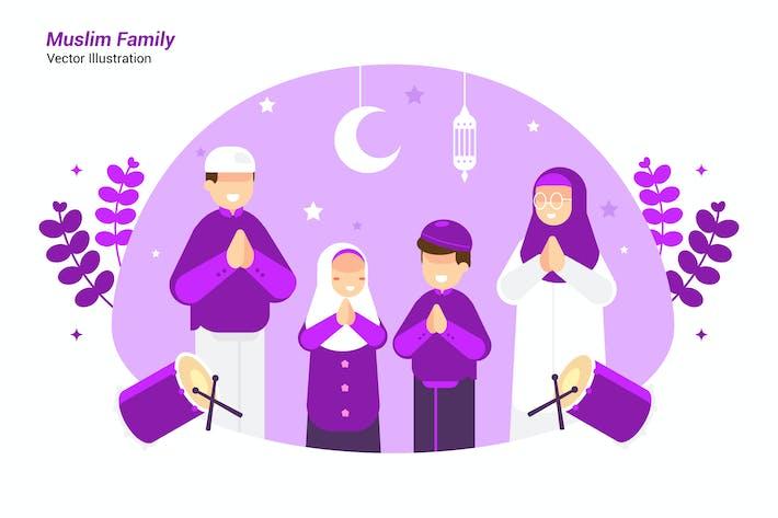 Muslim Family - Vector Illustration