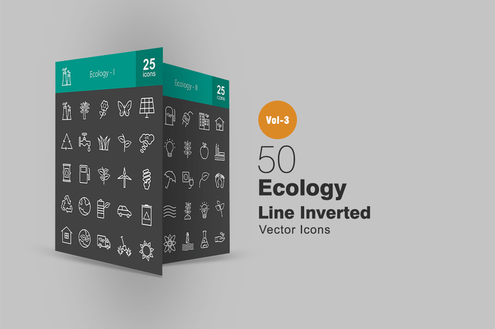 Thumbnail for 50 Ecology Line Inverted Icons