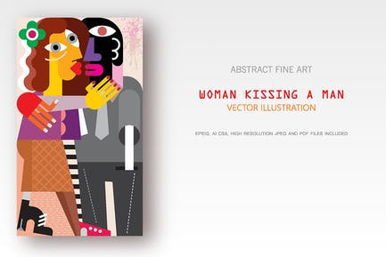 Woman Kissing a Man fine art vector painting