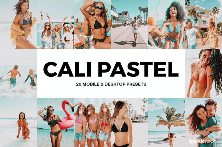 Thumbnail for 20 Cali Pastel Lightroom Presets and LUTs