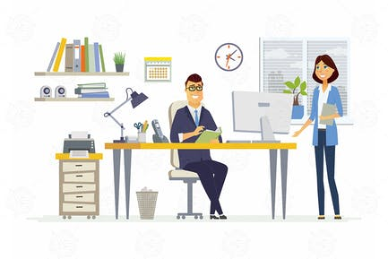Office Meeting - vector illustration