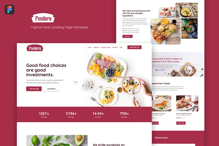 Foodera — Figma Food-Zielseiten-Vorlage