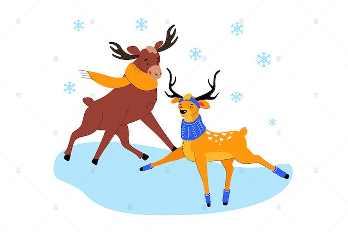 Thumbnail for Cute elk and deer on ice - flat illustration