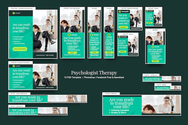 Psychologist Therapy Banners Ad