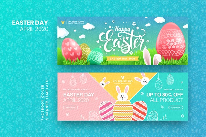 Thumbnail for Easter Day Facebook Cover & Banner Template