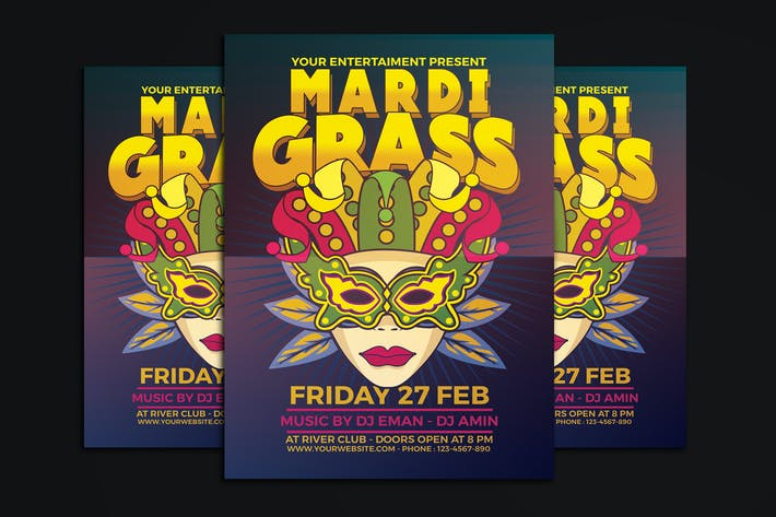 Thumbnail for Mardi Gras Party Flyer