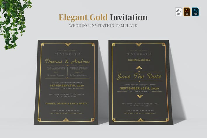 Thumbnail for Elegant Gold | Wedding Invitation