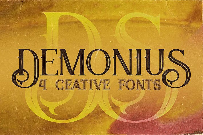 Thumbnail for Demonius - 4 Vintage Fonts