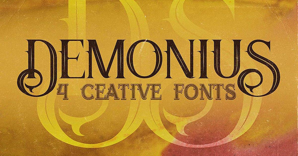 Download Demonius - 4 Vintage Fonts by cruzine