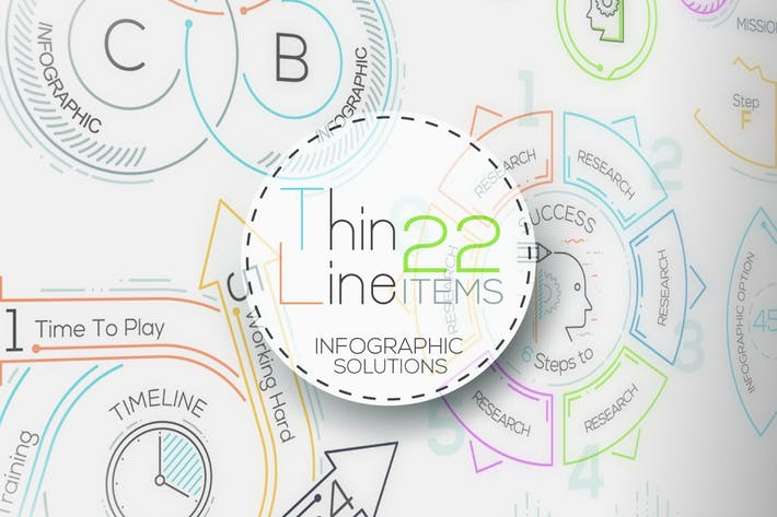 Thumbnail for Thin Line Infographic Set