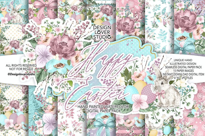 Thumbnail for Happy Easter cute digital paper pack
