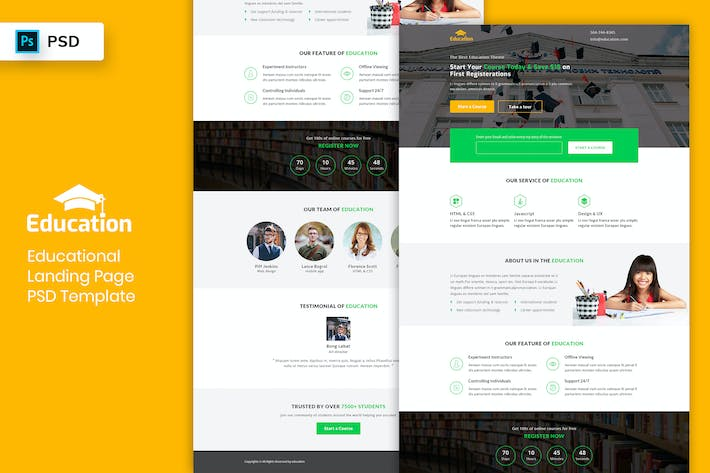 Thumbnail for Educational - Landing Page PSD Template-03